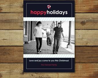 Photo Christmas card, holiday card, blue Christmas card, custom photo card, personalized photo card