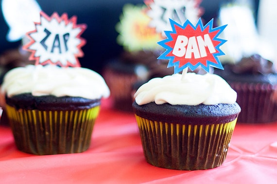 Super hero comic book cupcake toppers or stickers, editable pdf, printable, instant download