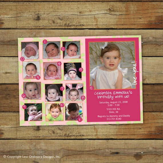 first birthday party invitation collage for your little girl