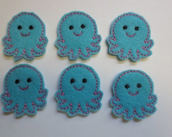 Little Aqua Octopus Felt Embroidered Embellishment - 245