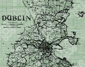 Digital Download Antique Illustration Dublin Map, digi stamp, digis, digital stamp, Irish map of Dublin, St Patrick's Day