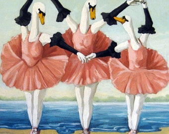 SWAN LAKE  BALLET animal fantasy print from original oil painting
