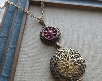 Scent Locket Necklace with Antique Button- Snowflake