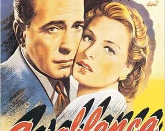 Art Print on Silk from a Vintage Movie Poster - Bogart & Bergman in CASABLANCA - Fiber arts Crazy Quilting