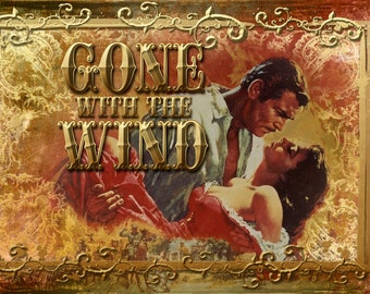 ART Print on SILK - Scarlette and Rhett Butler in Gone with the Wnd - from old Movie Poster - Fiber Arts Collage Embellish