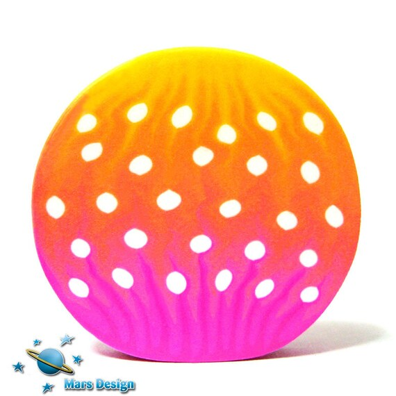 Polymer clay cane POLKA DOT pink orange yellow petal cane -by Mars