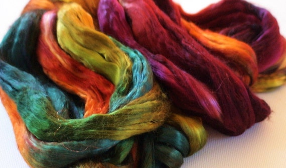 Hand Dyed Mulberry silk roving 2oz Autumns robes
