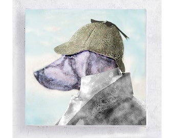 Weimaraner with Deerstalker Hat - Dog Art - Animal Print - Canvas Print on 5x5 Art Block  - Jake P. I. -  Dog Portrait  -  Men Cave Wall Art