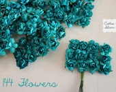 144 Teal Paper Flowers - small bouquet - wedding, bridal, baby showers, invitation making, scrapbooking