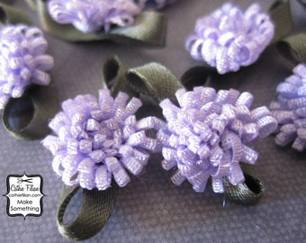 Purple Flowers - 12 pcs. Scrapbooking Embellishment, Party Favors, Jewelry Making, Hair Bows