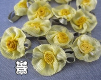 Yellow Ombre Ribbon Flowers - 12 pcs. Scrapbooking Embellishment - Baby Shower Favors