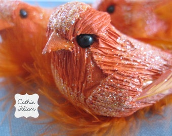 Party Birds - Orange - Glittered and feathered - set of 3 - Embellishment