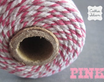 Bakers Twine - Pink and White - 100 yards - Christmas Valentines cotton cording gift wraping scrapbooking