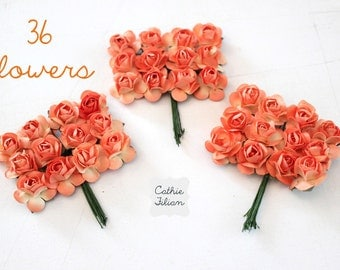 36 Orange Paper Flowers - Small Bouquet - weddings - favors - invitations - paper goods