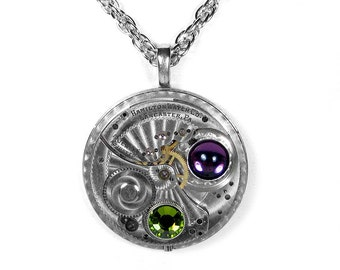Steampunk Jewelry Necklace HAMILTON Pocket Watch AMETHYST PERIDOT Crystal Wedding, Anniversary, Bridal, Fiancee Gift - Jewelry by edmdesigns