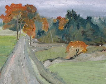"""Plein Air Small Oil Painting Original Country Road Impressionist Eastern Townships Appalachian Fournier Quebec Canada """"Over The Orange Trees"""