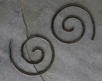 Little Spiral Earrings Black Sterling Silver Oxidized Finish Size Small Nautilus Spiral Minimalist Modern Koru
