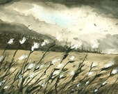 Milkweed Storm - Watercolor print-