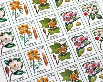20 Flowering Trees Stamps .. Vintage Unused US Postage Stamps .. Botanical Beauties .. Nature at it's finest, Walden woods, Southern wedding