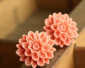 Pink Dahlia Stud Earrings, Studs Flower Post Earrings, Weddings, Mum Flower Earrings, Rose Pink