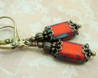 Orange Earrings, Rectangle, Neo Victorian, Vintage Inspired Jewelry, Antiqued Brass, Opal Orange Glass, Handmade, US Artisan, American Made