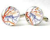 Athens Georgia University Football Vintage Map Sterling Silver Cuff Links