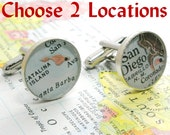 Grooms Gift from Bride, Anniversary Gifts for Men Vintage Map Cufflinks. Sterling Silver Round You Select the Journey.