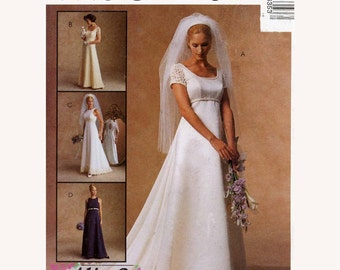 Brides Wedding dress bridesmaid dress sewing pattern McCalls 8635 Sz 12 to16 Classic wedding gown