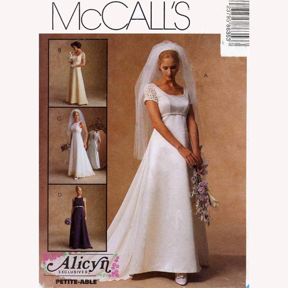 Brides wedding dress bridesmaid dress sewing pattern mccalls for Sewing patterns wedding dress