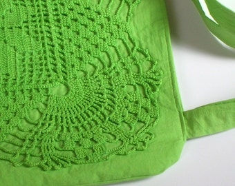 Green Square Upcycled Crochet Doily Purse