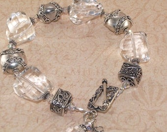 Rock Quartz Bracelet, Sterling Silver, Chunky, Bali, Faceted, Handmade Jewelry
