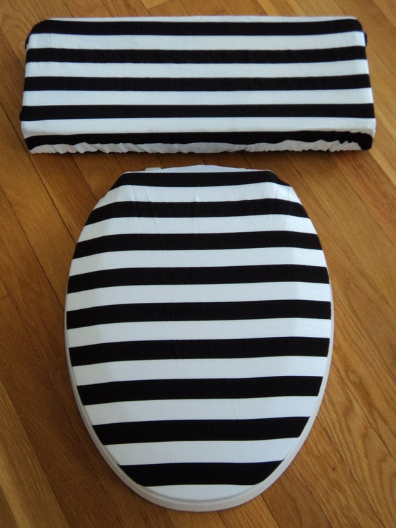 Black And White Stripe Toilet Seat And Tank Lid Cover Set