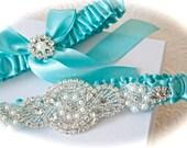Wedding Garter Set Gorgeous Crystals, Pearl, and Rhinestones, Satin Bride Garter with Satin Tossing Garter