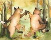 """fox cards- 5 blank cards-""""Autumn Jig"""" children, humor, autumn, fall, foxes, stocking stuffer, fall leaves"""