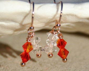 Herkimer Diamond Trio with Swarovski Crystals on Rose Gold Earrings