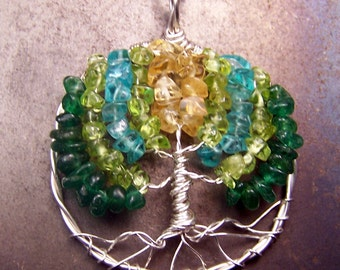 Tree of Life necklace pendant - Blue Gemstone - Tree of LIfe - Sterling Silver - Citrine Peridot Emerald Aventurine Blue Topaz