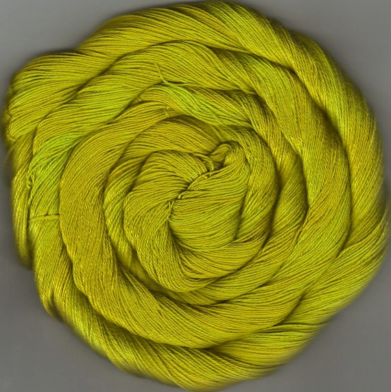 50 yards Hand-dyed Size 10 Cotton Crochet Thread Chartreuse
