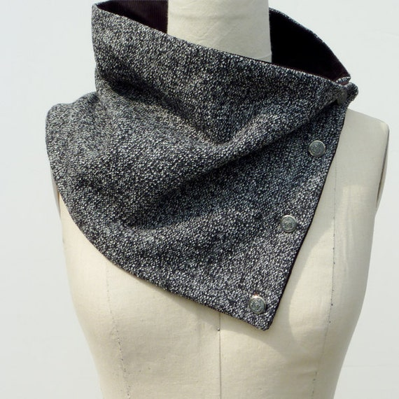 Unisex Oversized Peppered Black and White Military Inspired Classic Scarflette
