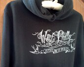 Unisex Hoodie, West Philly Is The Best Philly, tattoo style calligraphy by Justin Turkus, Adult XS-2XL