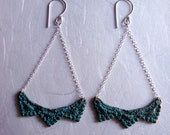Lace Pyramid chandelier Earrings in Blue Bronze and sterling silver