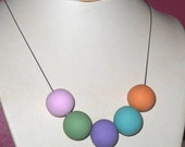 Big Round Handmade Polymer Clay Beads in Soft Purple, Green, Blue, Pink and Orange on Silver Chain Necklace
