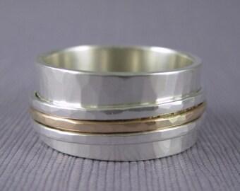 Personalized spinner ring, custom engraving spinner ring, hammered spinner, meditation ring, engraved spinner ring, inscription spinner