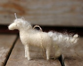 Unicorn - Needle Felted Christmas Ornament