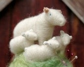 Mama Sheep and her Three Lambs in a Meadow - Made to Order - Needle Felted Pincushion