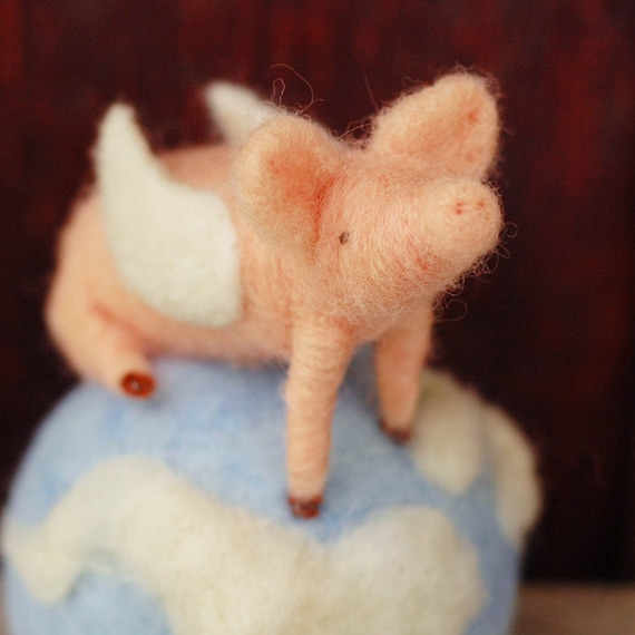 Made to Order - When Pigs Fly - Needle Felted  Pin Cushion