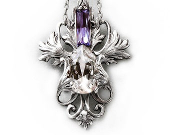 Victorian Necklace Silver Filigree Tanzanite Purple and Clear Swarovski Crystal Gothic necklace Gothic Jewelry swarovski drop