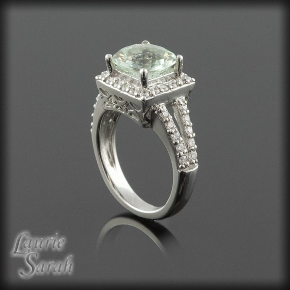 Cushion Cut Engagement Ring, Square Cushion Cut Prasiolite and Diamond Ring with Split Shank and Single Halo - LS284