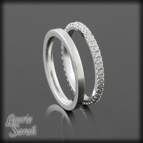 eternity band wedding set prong set ring by lauriesarahdesigns
