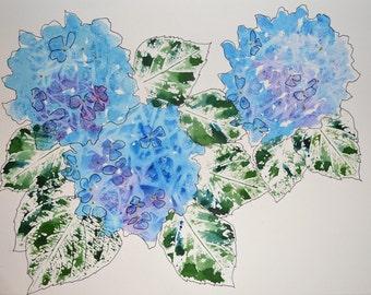 "Hydrangea ""Watercolor Hydrangeas""-Original Watercolor and Ink Painting of Blue Hydrangeas"