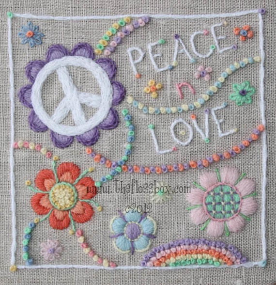 Items similar to peace n love crewel embroidery pattern on